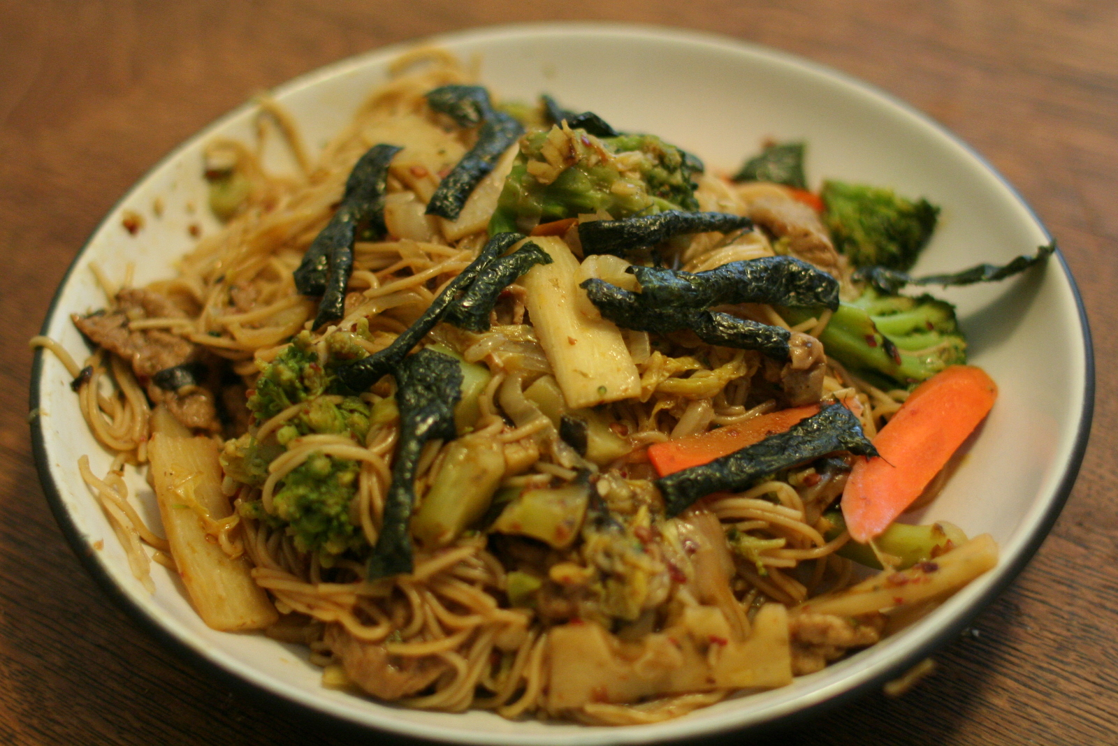 Somen noodles with napa cabbage and seitan   robfelty.com