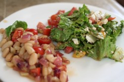 White bean, fennel, and red onion salad with honey miso dressing, paired with a lettuce, tomato and feta salad