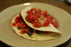 Black bean quesadilla with pico de gallo