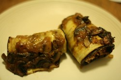 Tofu-stuffed eggplant with mushroom ragout