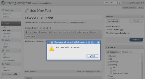 Category reminder screenshot
