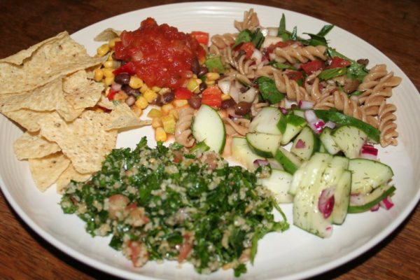 Salad night - taboulleh, cucumber dill salad, pasta salad, and corn bean salad