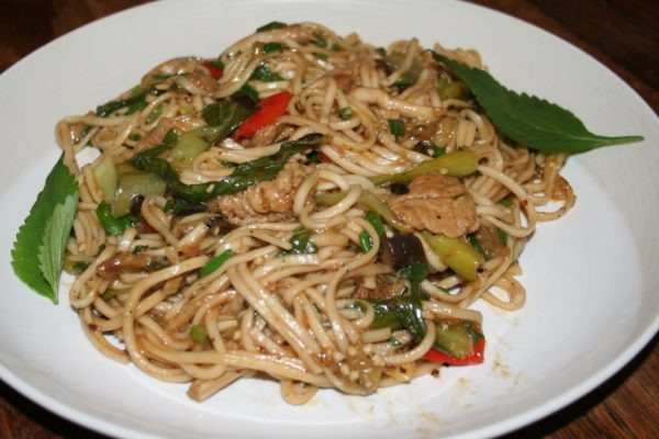 Szechuan eggplant and bok choy lo mein
