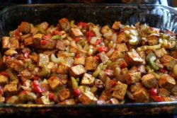 Barbecued tofu in the pan