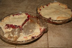 Cherry rhubarb pies